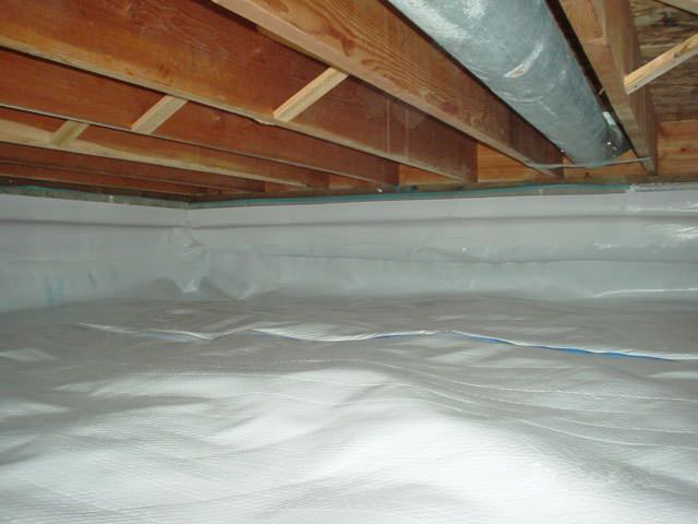 A Moisture Barrier Installed On The Walls And Floors Of Crawl E