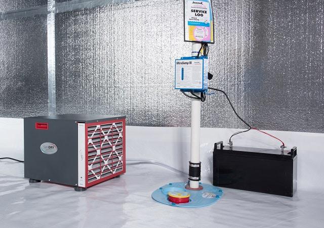 A Crawl E Sump Pump Liner And Dehumidifier Installed