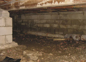 Rotting, decaying crawl space wood damaged over time in Frisco
