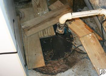 An ugly, clogged sump pump system in Gunnison, Colorado