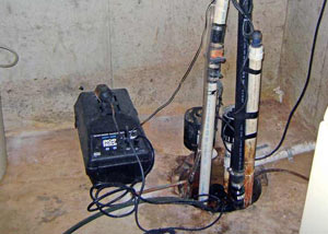 Pedestal sump pump system installed in a home in Buena Vista