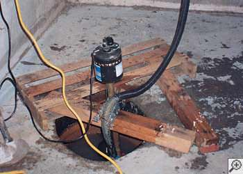 A Buena Vista sump pump system that failed and lead to a crawl space flood.