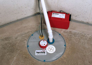 A sump pump system with a battery backup system installed in Eagle